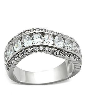 SS029-10 - 925 Sterling Silver Silver Ring AAA Grade CZ Clear