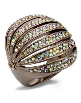 LO1685-10 - Brass Chocolate Gold Ring Top Grade Crystal Multi Color