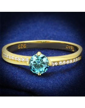 TS561-5 - 925 Sterling Silver Gold Ring AAA Grade CZ Sea Blue