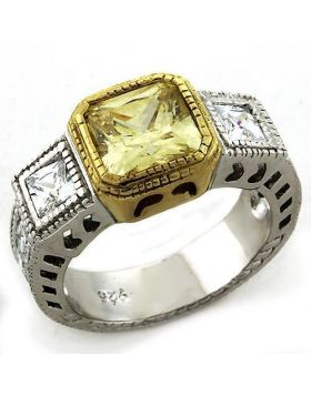 LOAS1209-9 - 925 Sterling Silver Gold+Rhodium Ring AAA Grade CZ Citrine