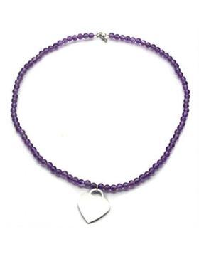 LOS029-16 - 925 Sterling Silver Silver Necklace Synthetic Amethyst