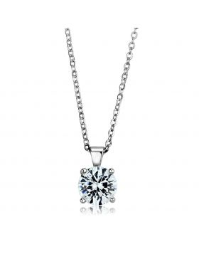 LOS892-18 - 925 Sterling Silver Rhodium Chain Pendant AAA Grade CZ Clear