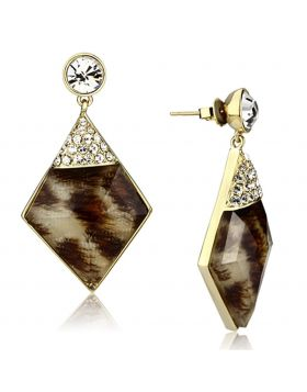 VL063 - Brass IP Gold(Ion Plating) Earrings Synthetic Animal pattern