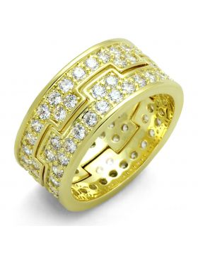 LO3349-5 - Brass Gold Ring AAA Grade CZ Clear