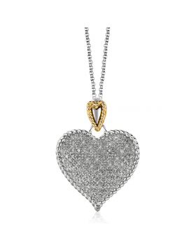 Designer Sterling Silver and 14k Yellow Gold Heart Shape Pave Diamond Pendant