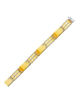 14k Two-Tone Gold Unisex Bracelet with Screw Embellished Bar Links