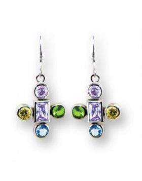 Earrings,925 Sterling Silver,High-Polished,AAA Grade CZ,Multi Color