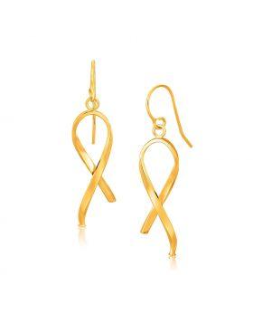 14k Yellow Gold Ribbon Style Dangling Earrings