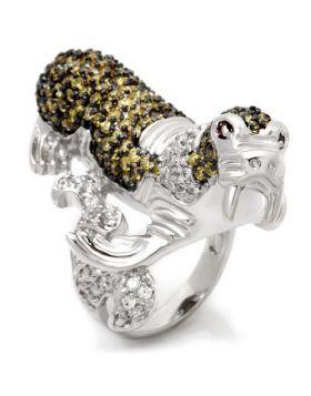 Ring Brass Rhodium + Ruthenium AAA Grade CZ Multi Color