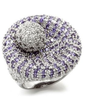 Ring Brass Rhodium AAA Grade CZ Tanzanite