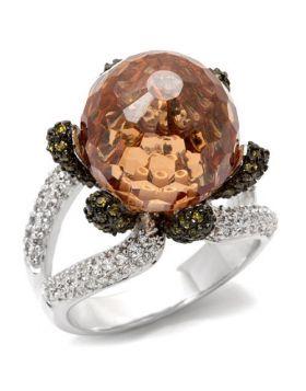 Ring Brass Rhodium + Ruthenium AAA Grade CZ Champagne