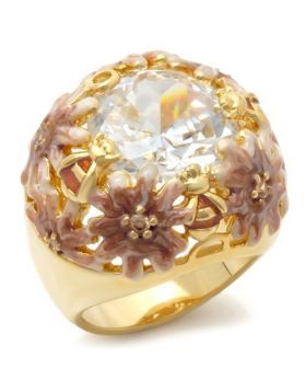 Ring Brass Matte Gold & Gold AAA Grade CZ Clear Round