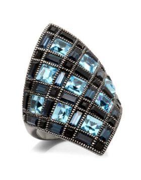 Ring Brass Ruthenium Top Grade Crystal Sea Blue