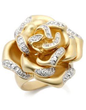 Ring Brass Matte Gold & Rhodium AAA Grade CZ Clear