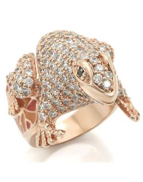 Ring Brass Rose Gold AAA Grade CZ Jet