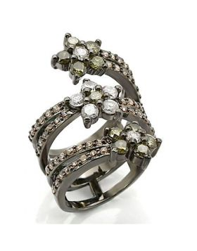 Ring Brass Ruthenium AAA Grade CZ Multi Color