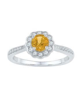 10kt White Gold Womens Round Citrine Solitaire Diamond Ring 3/4 Cttw