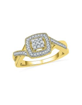 10kt Yellow Gold Womens Round Diamond Square Frame Cluster Twist Ring 1/5 Cttw