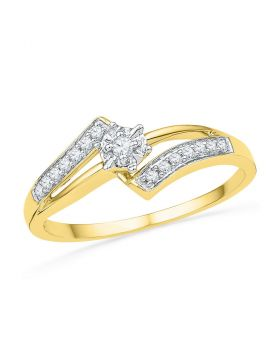 10kt Yellow Gold Womens Round Diamond Solitaire Bridal Wedding Engagement Ring 1/10 Cttw