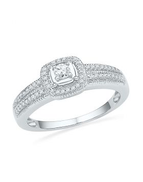 10kt White Gold Womens Round Diamond Solitaire Double Row Milgrain Bridal Wedding Engagement Ring 1/4 Cttw