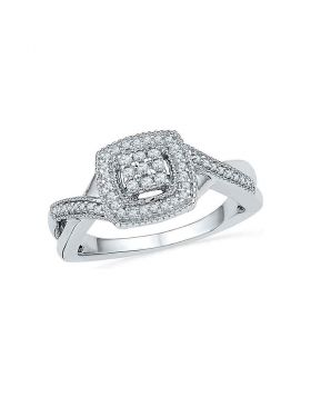 10kt White Gold Womens Round Diamond Square Frame Cluster Twist Ring 1/5 Cttw