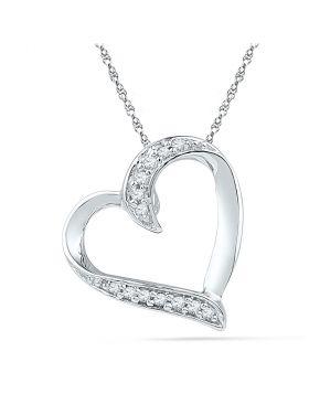 10kt White Gold Womens Round Diamond Heart Pendant 1/20 Cttw