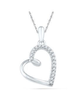 10kt White Gold Womens Round Diamond Heart Outline Pendant 1/10 Cttw