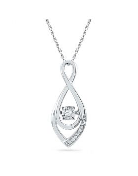 10kt White Gold Womens Round Diamond Moving Twinkle Solitaire Teardrop Pendant 1/20 Cttw