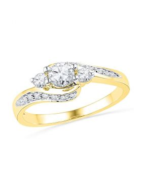 10k Yellow Gold Womens Round Diamond Bridal Wedding Engagement Anniversary Ring 1/2 Cttw