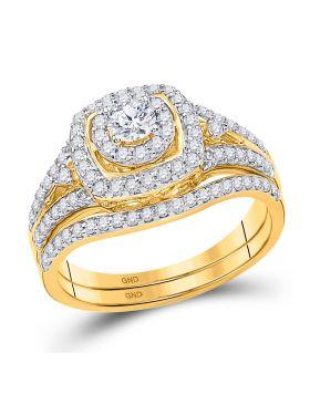 14kt Yellow Gold Womens Round Diamond Bridal Wedding Engagement Ring Band Set 3/4 Cttw