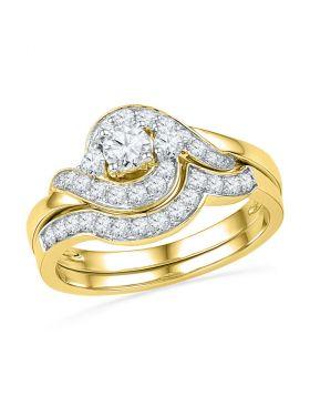 14kt Yellow Gold Womens Round Diamond Swirl Bridal Wedding Engagement Ring Band Set 3/4 Cttw