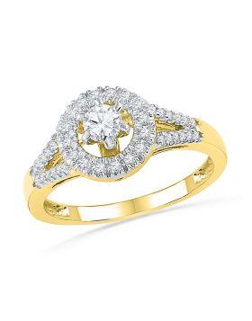 10kt Yellow Gold Womens Round Diamond Solitaire Split-shank Bridal Wedding Engagement Ring 3/8 Cttw