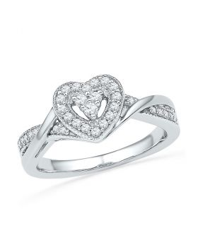 10kt White Gold Womens Round Diamond Heart Ring 1/4 Cttw