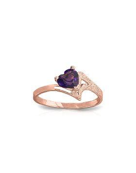 0.75 Carat 14K Rose Gold Ring Natural Purple Amethyst