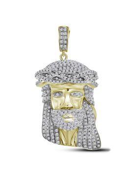 10kt Yellow Gold Unisex Round Diamond Jesus Christ Messiah Charm Pendant 1-1/3 Cttw