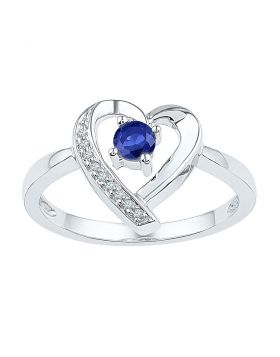 Sterling Silver Womens Round Lab-Created Blue Sapphire Heart Ring 1/4 Cttw