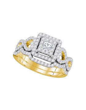 14kt Yellow Gold Womens Princess Diamond Woven Bridal Wedding Engagement Ring Band Set 7/8 Cttw