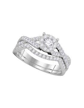 14kt White Gold Womens Diamond Princess Bridal Wedding Engagement Ring Band Set 3/4 Cttw