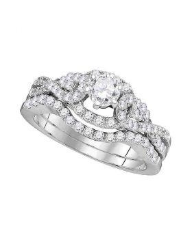 14k White Gold Womens Round Diamond Woven Twist Bridal Wedding Engagement Ring Band Set 1 Cttw