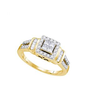 10kt Yellow Gold Womens Princess Diamond Halo Bridal Wedding Engagement Ring 1/2 Cttw