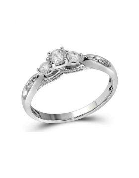 10kt White Gold Womens Round Diamond 3-stone Bridal Wedding Engagement Ring 3/8 Cttw