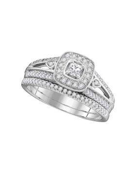 10kt White Gold Womens Princess Diamond Square Halo Bridal Wedding Engagement Ring Band Set 1/2 Cttw