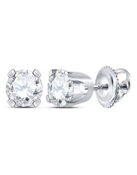 14kt White Gold Unisex Round Diamond Solitaire Stud Earrings 3/8 Cttw