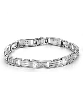 10kt White Gold Unisex Round Diamond Rectangle Link Fashion Bracelet 1.00 Cttw