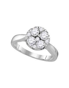14kt White Gold Womens Round Diamond Cluster Bridal Wedding Engagement Ring 1.00 Cttw