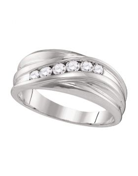10kt White Gold Unisex Round Diamond Wedding Band Ring 1/3 Cttw