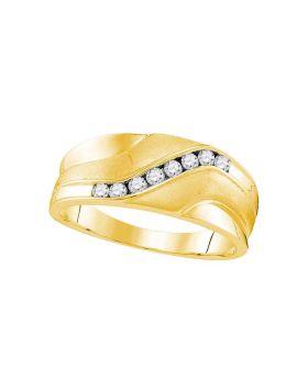 10kt Yellow Gold Unisex Round Diamond Wedding Band Ring 1/4 Cttw