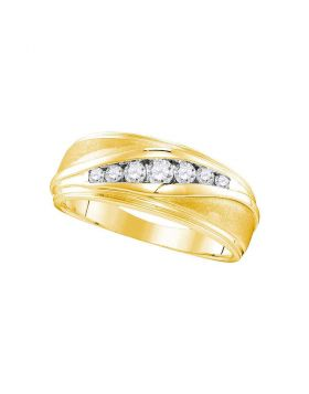 10kt Yellow Gold Unisex Round Diamond Wedding Band Ring 3/8 Cttw