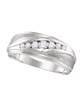 10kt White Gold Unisex Round Diamond Wedding Band Ring 3/8 Cttw