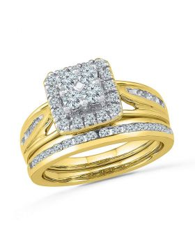 10kt Yellow Gold Womens Round Diamond Cluster Bridal Wedding Engagement Ring Band Set 1.00 Cttw